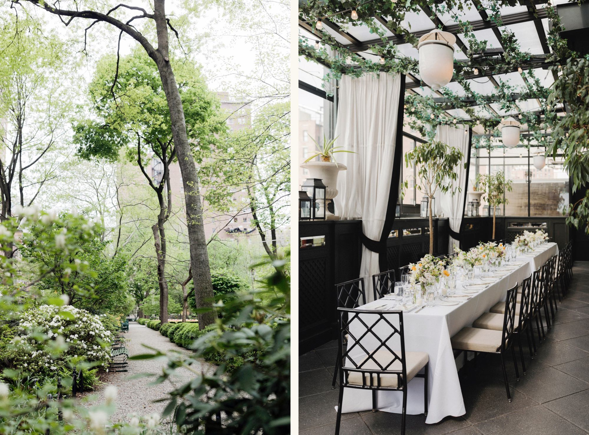 Inside Gramercy Park and Gramercy Terrace Rooftop Brunch wedding reception setup