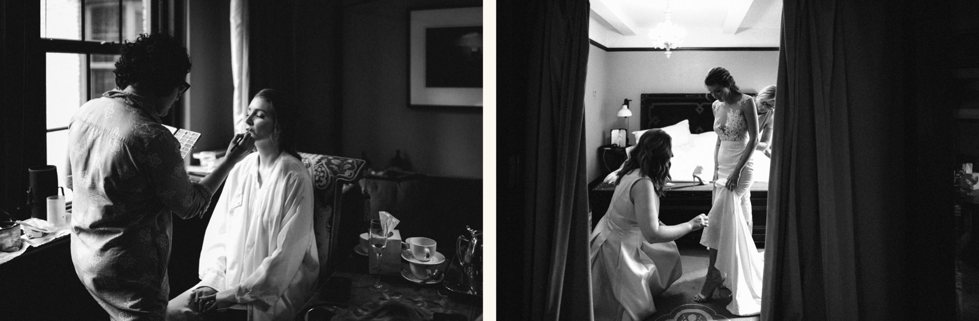 black and white images of bride getting ready at gramercy park hotel
