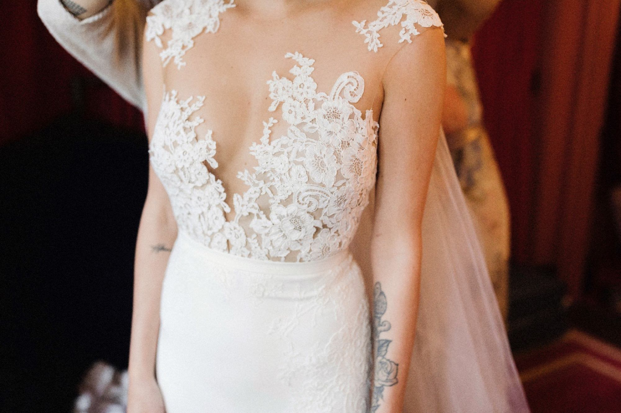 Close up details bride's dress at gramercy park hotel
