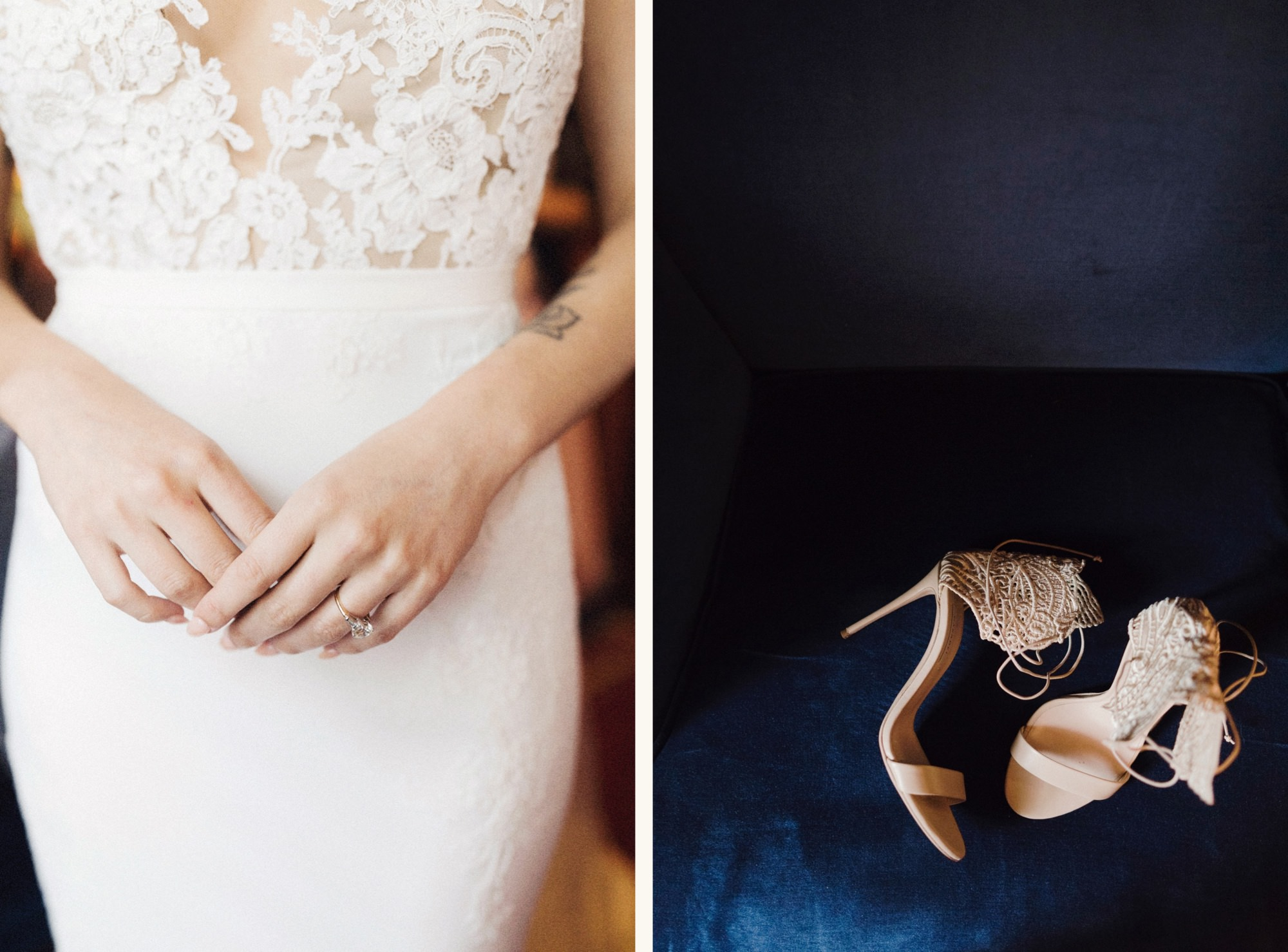 Close up details of bride at gramercy park hotel