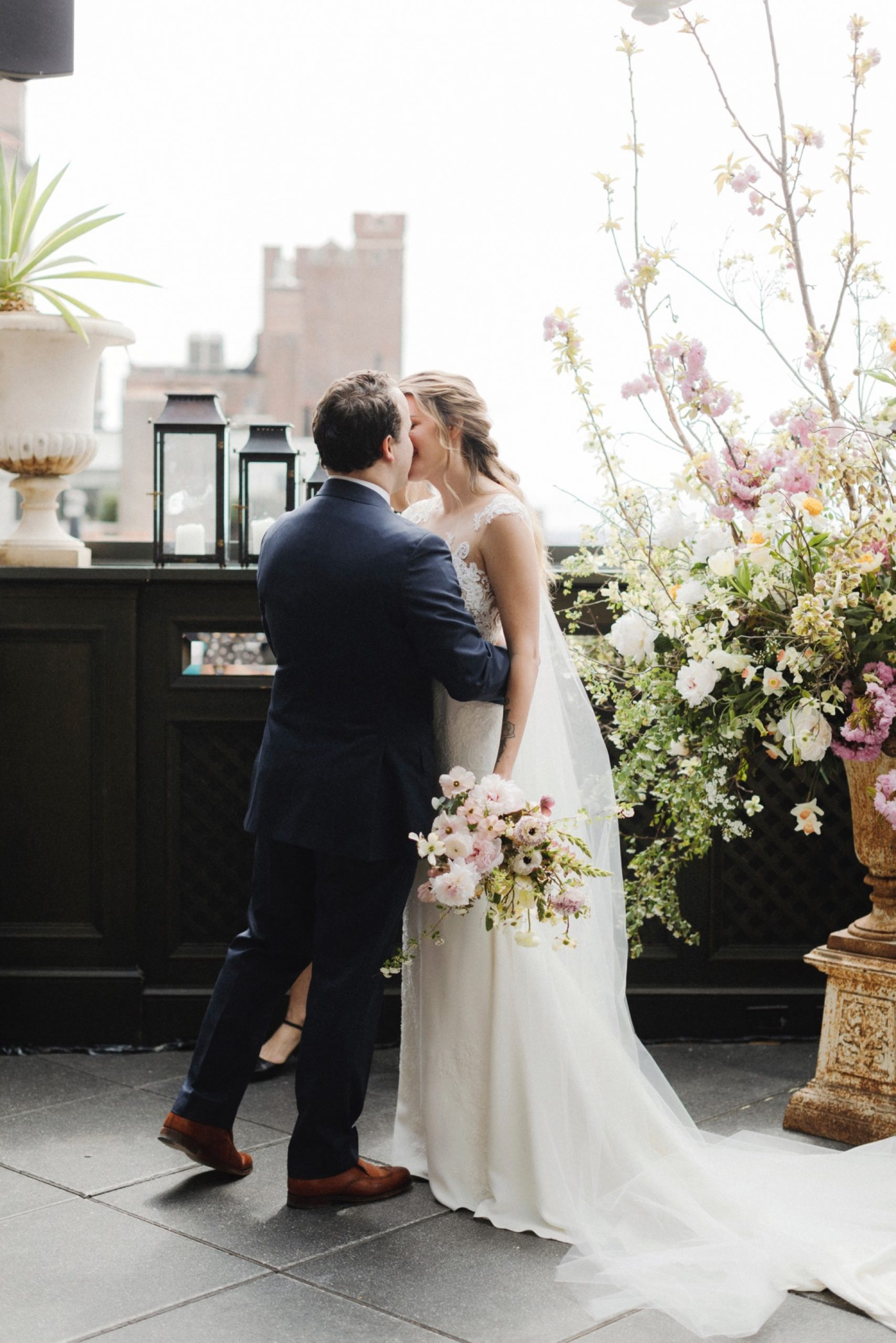 First kiss during ceremony at Gramercy Park Hotel Wedding