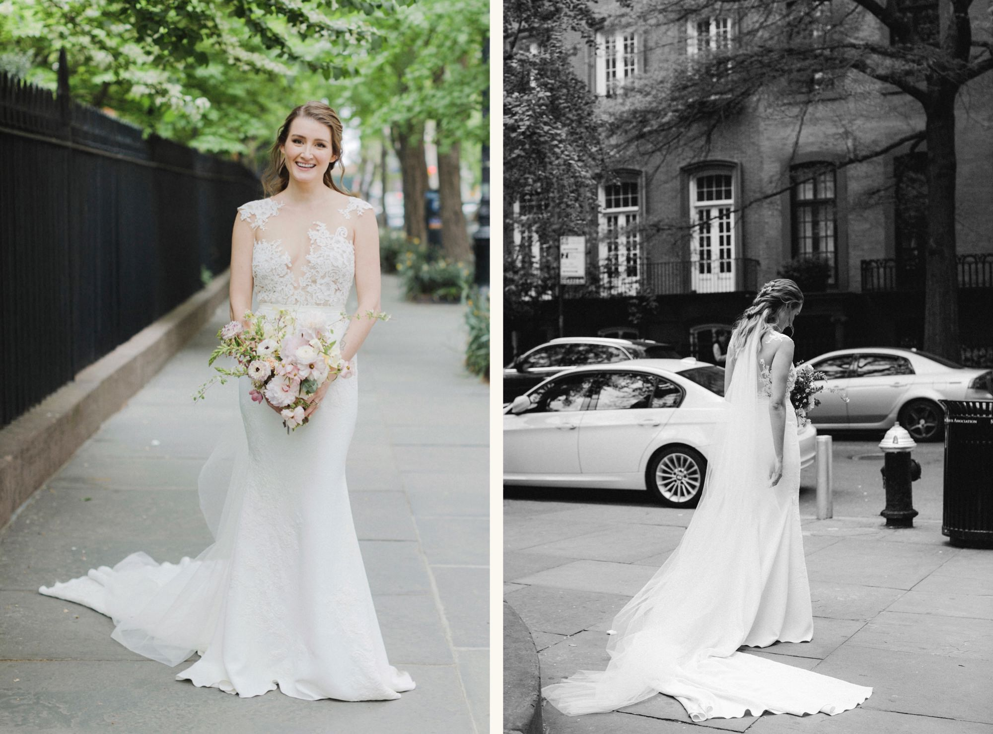 Bride portraits at Wedding couple in front of Gramercy Park
