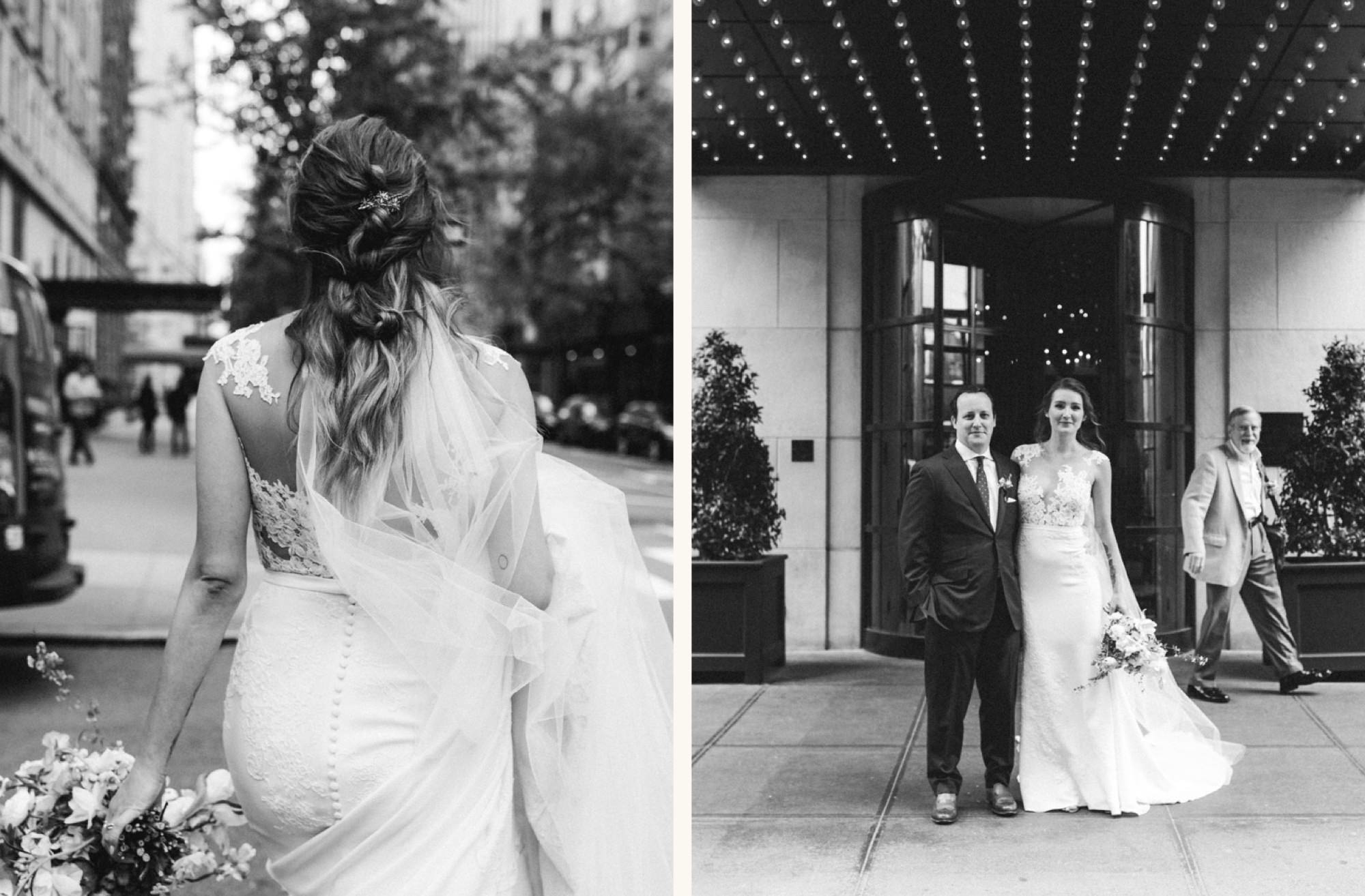 Wedding couple in front of Gramercy Park Hotel