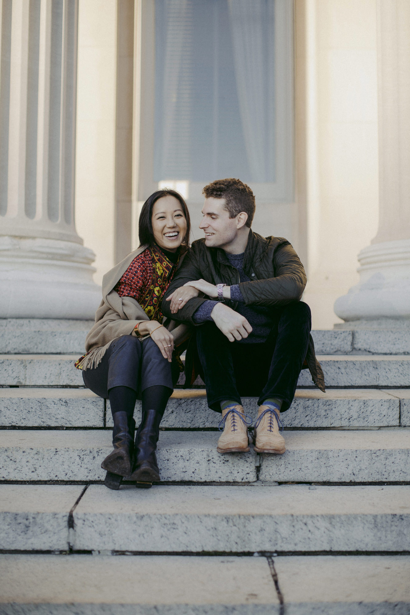 Couple sitting on steps at Columbia University