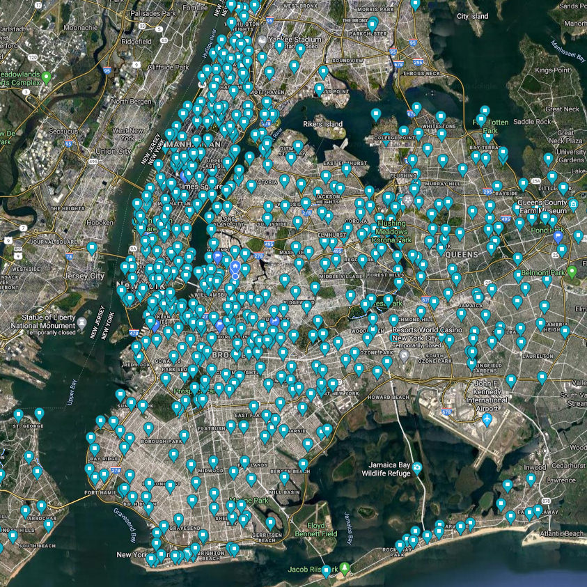 Location of all pubic restrooms in NYC