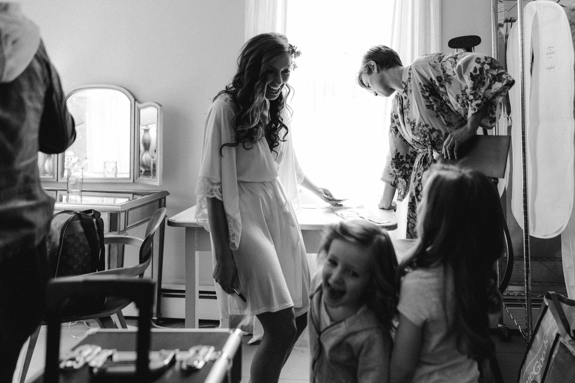 Bride getting ready at Roxbury Barn & Estate Wedding