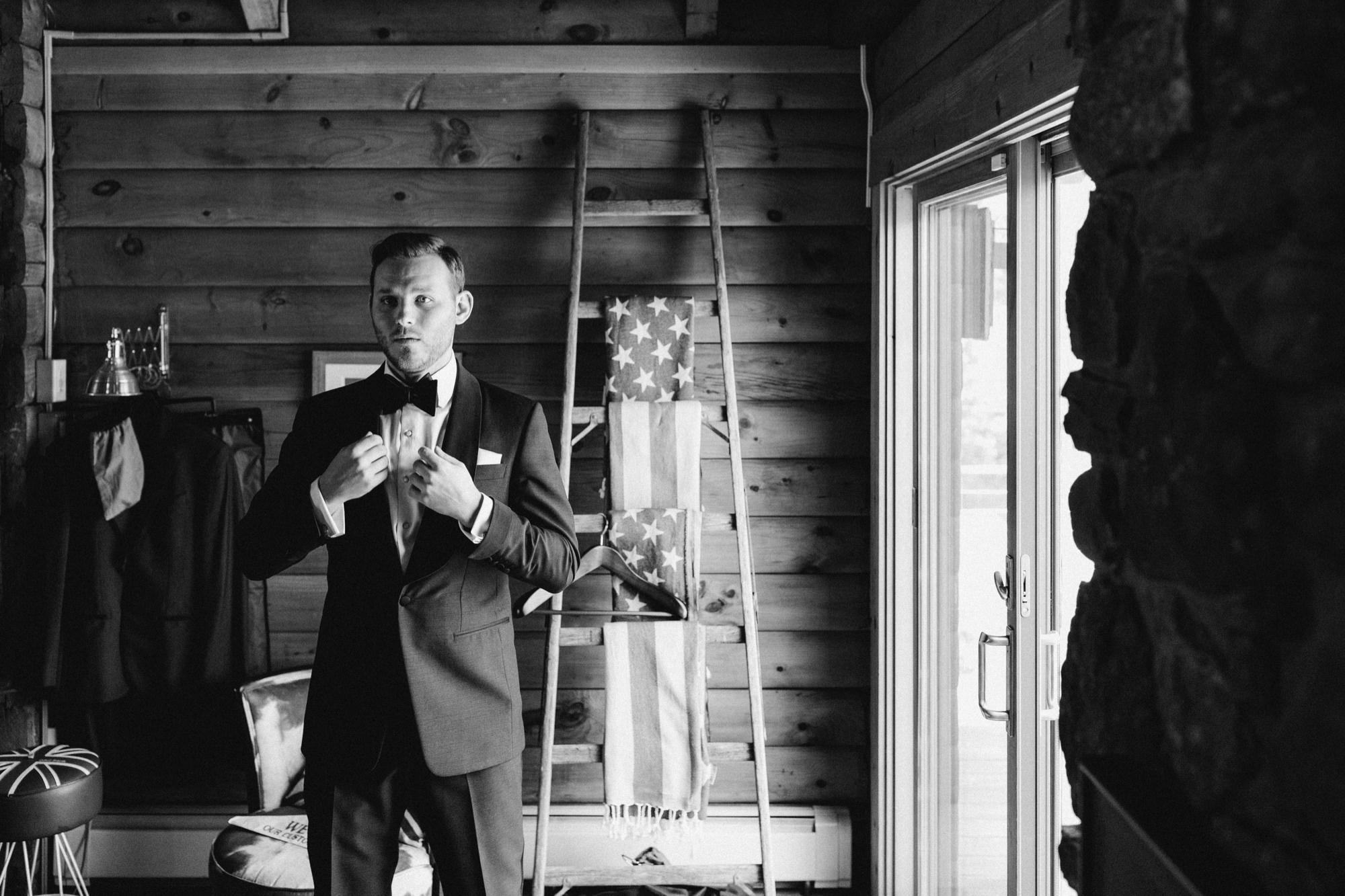 Groom before the ceremony at Roxbury Barn Catskills New York