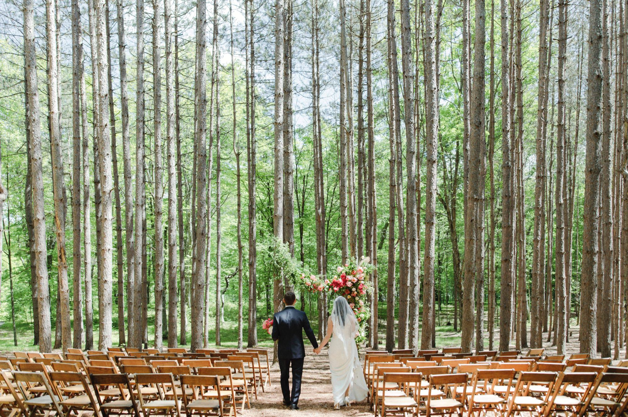 Ceremony setup at The Pine Grove at Roxbury Barn Estate in the Catskills New York