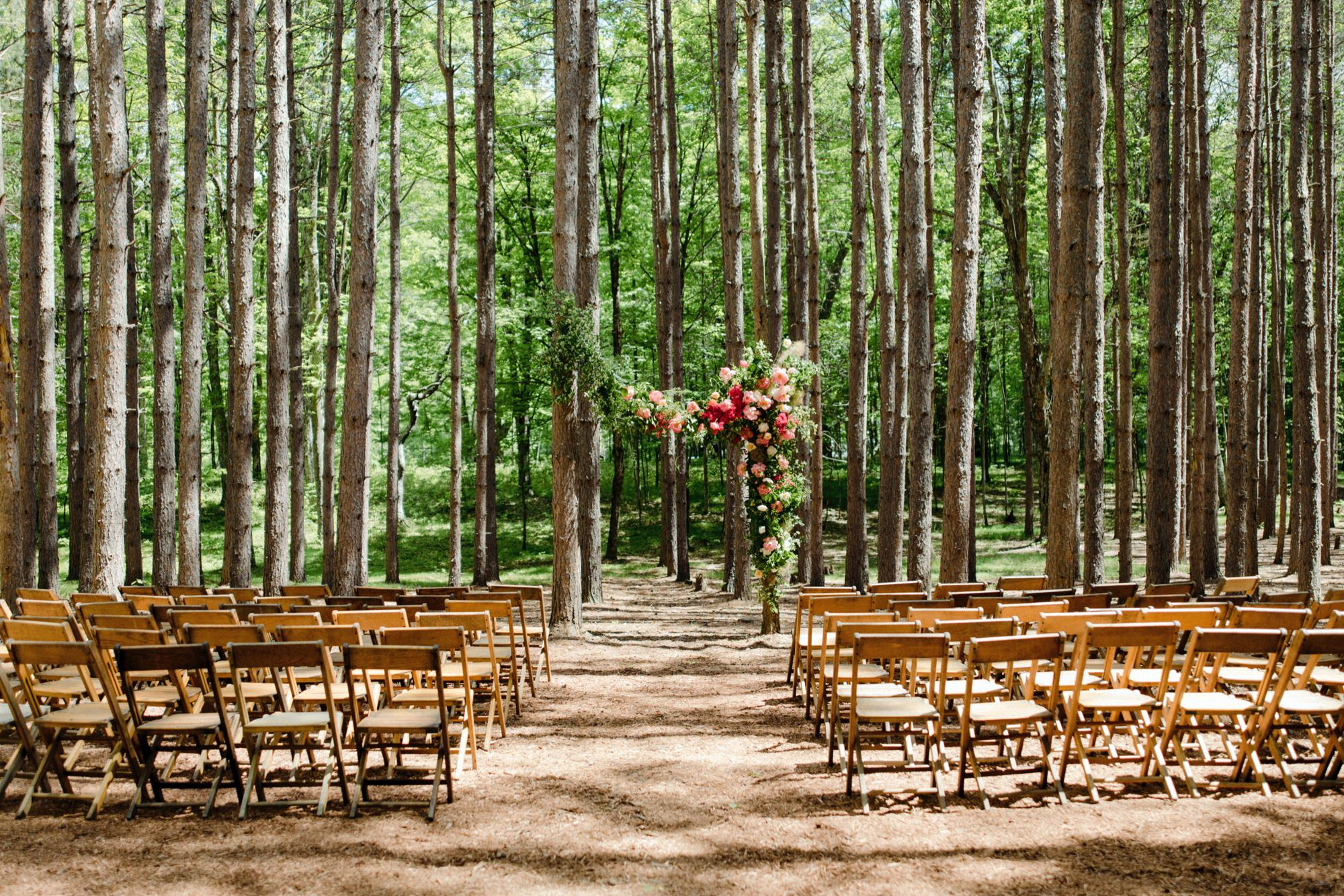 The Pine Grove wedding ceremony location at Roxbury Barn Estate in the Catskills New York