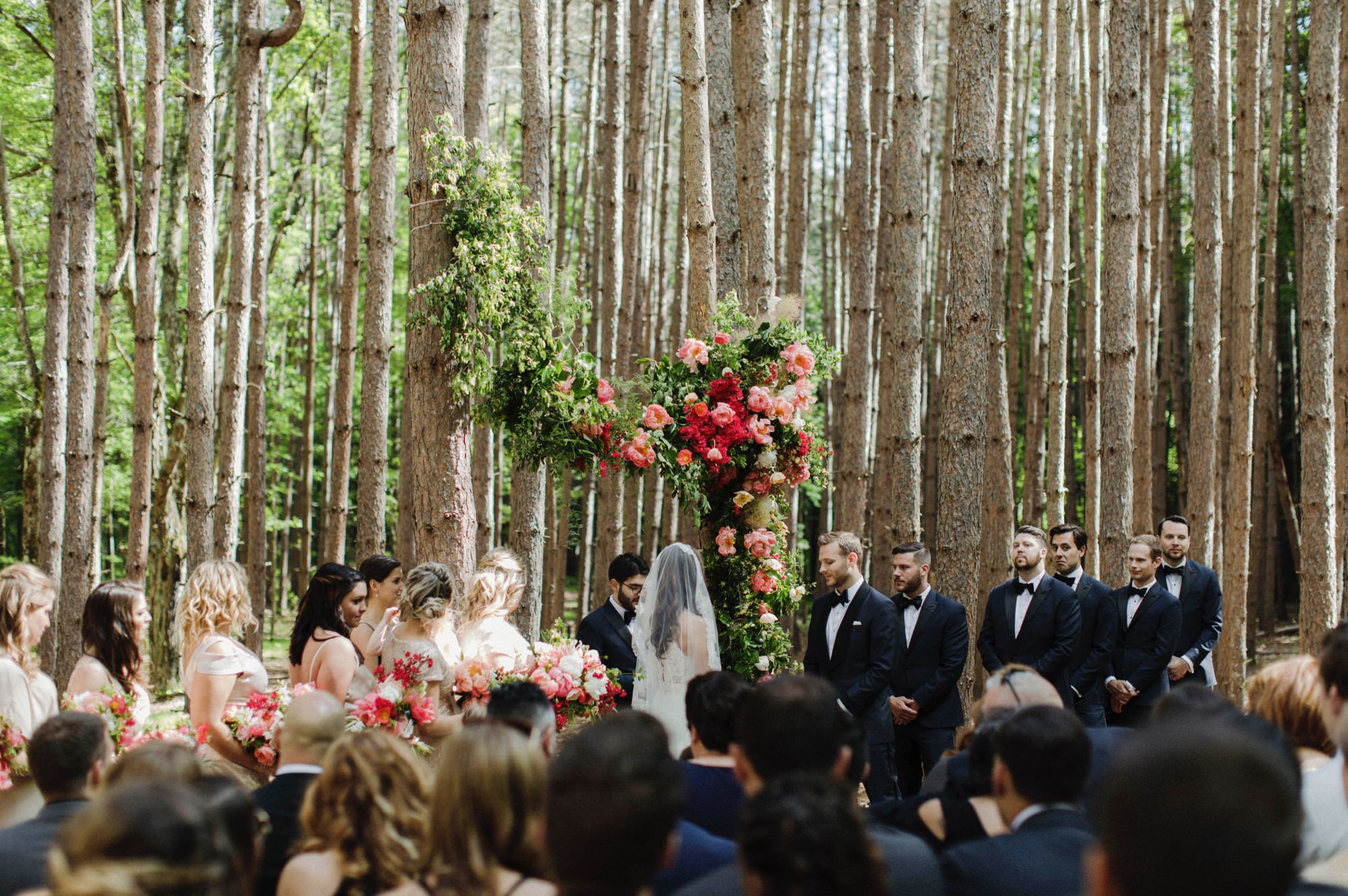 Wedding ceremony at the Pine Grove location at Roxbury Barn Estate in the Catskills New York