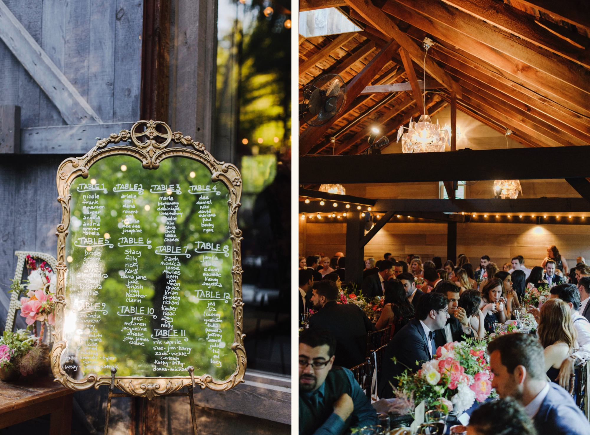Dinner reception at The Carriage Barn at Roxbury Barn Estate in the Catskills New York