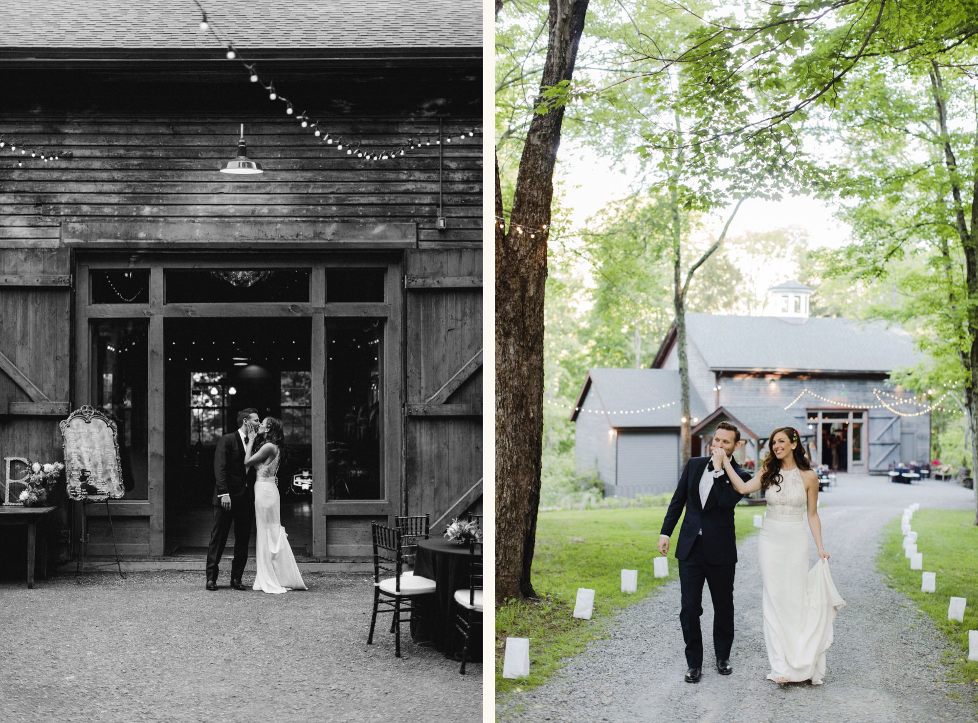 Newlyweds at The Carriage Barn at Roxbury Barn Estate in the Catskills New York