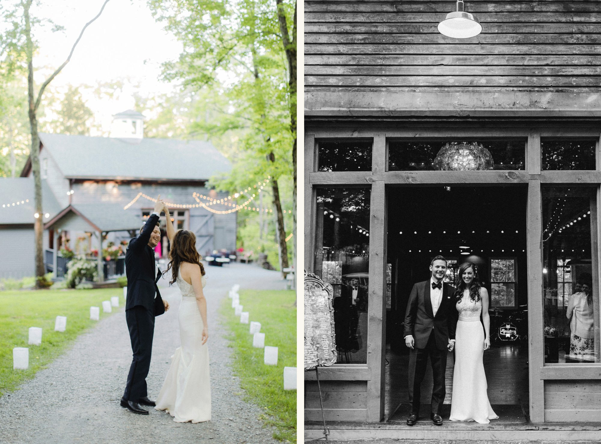 Bride and groom at The Carriage Barn at Roxbury Barn Estate in the Catskills New York