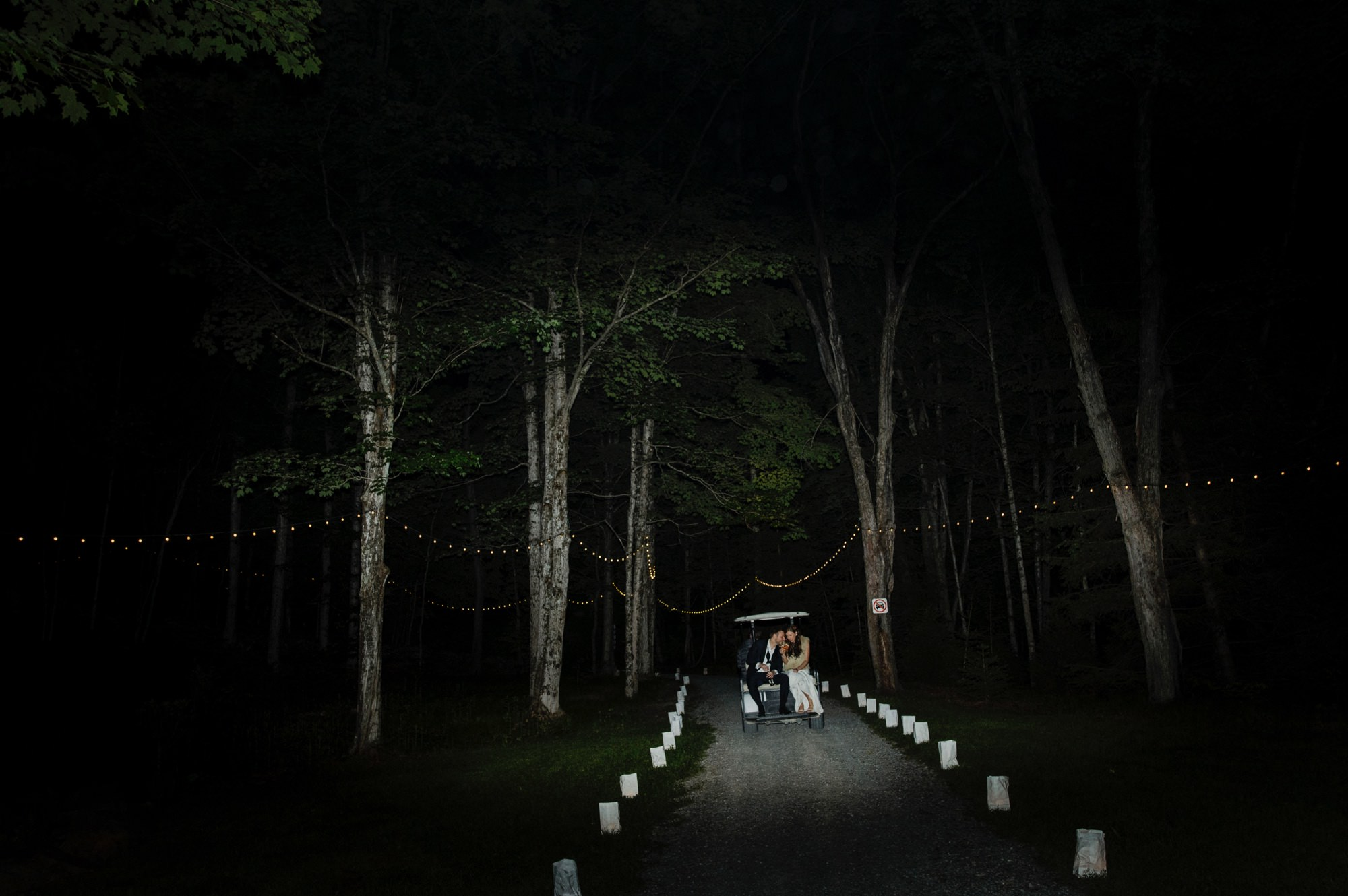 Bride and Groom making an exit at Roxbury Barn Estate Wedding Catskills - Photo by Samm Blake, New York Photographer